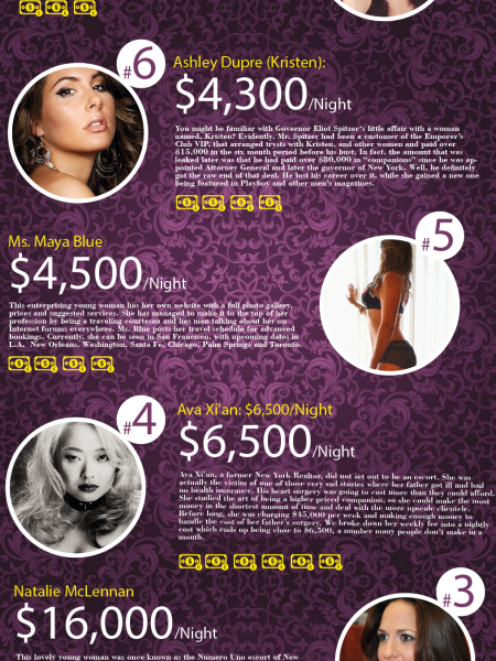 Top 9 Most Expensive Female Escorts Infographic