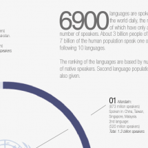 Top languages spoken in today's world. Infographic