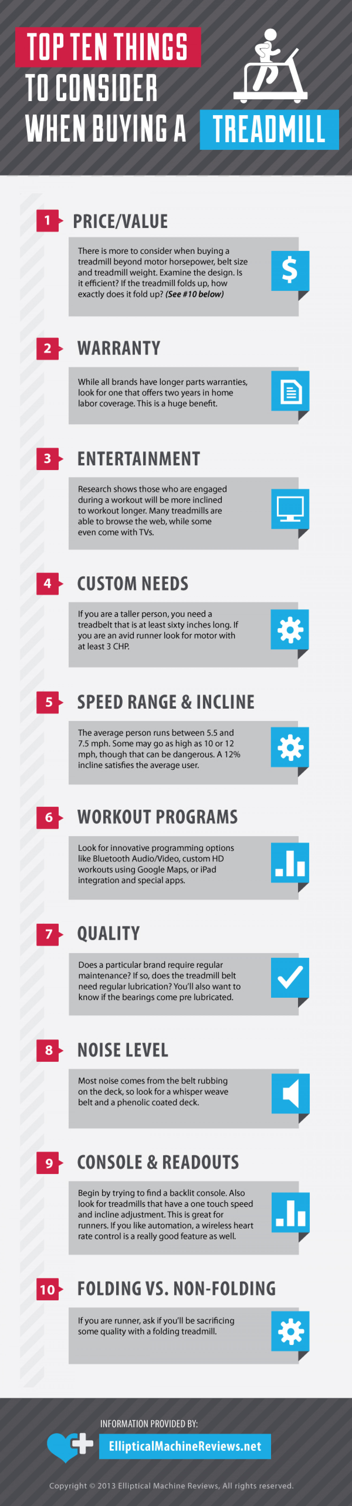Top Ten Things To Consider When Buying A Treadmill Infographic