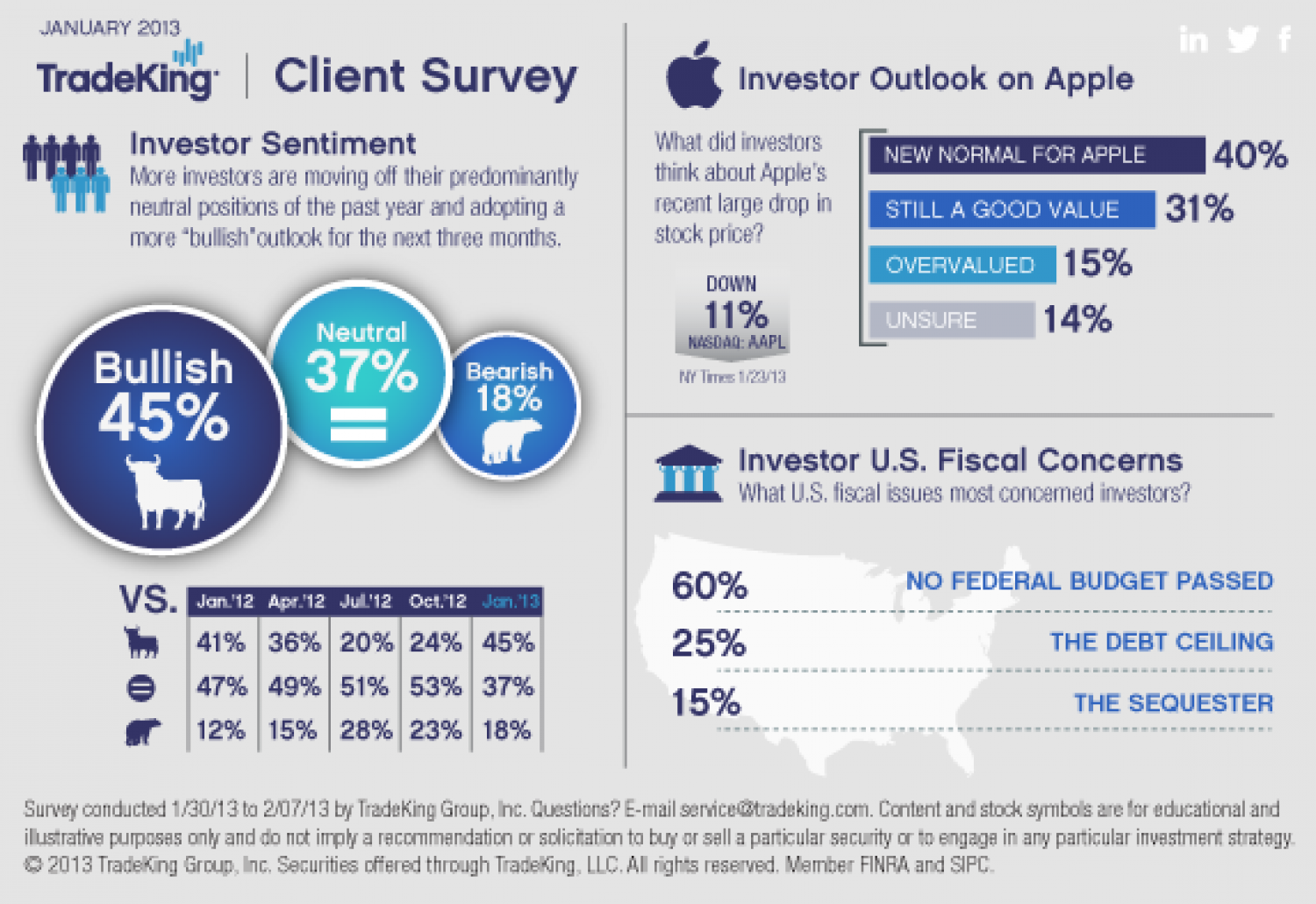 TradeKing Survey: Optimism on the Rise as Investors Anticipate Greater Opportunity in Equities Market for 2013 Infographic