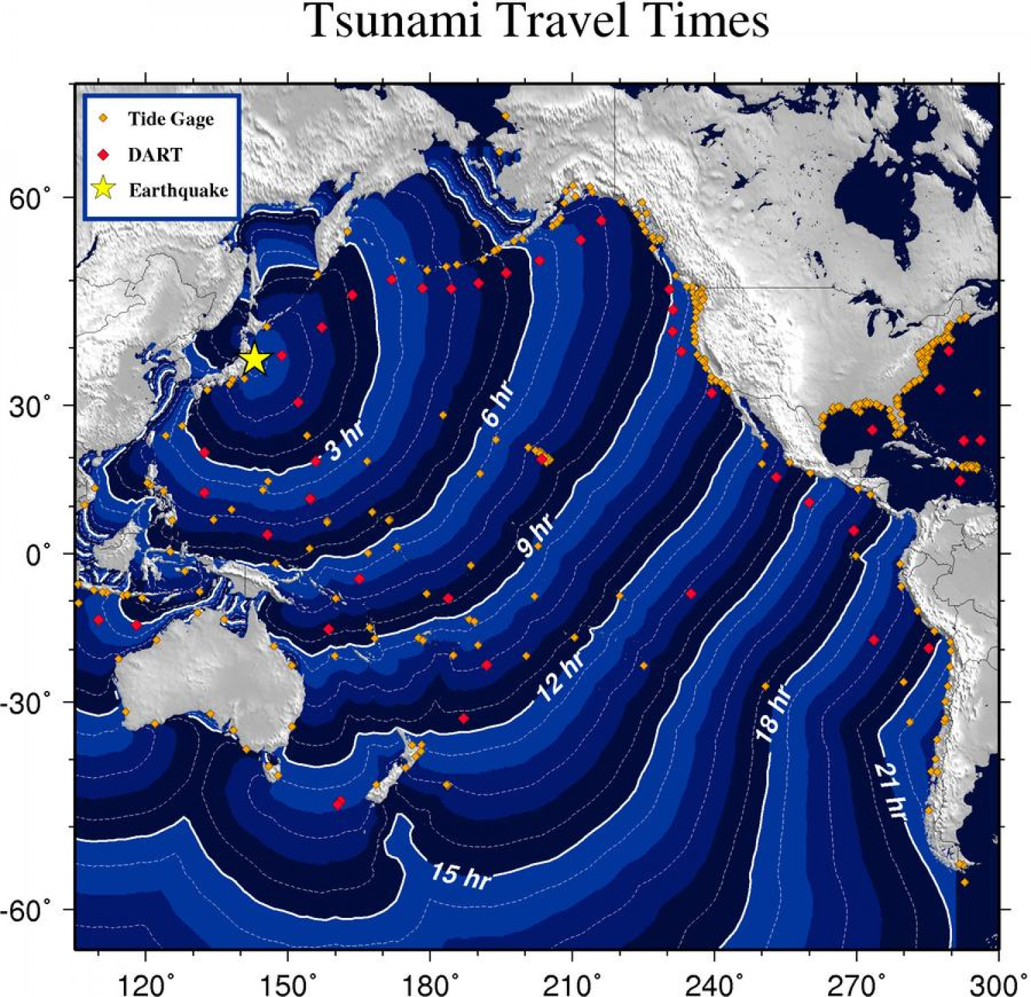 Tsunami Travel Times Infographic