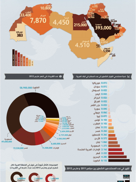 Twitter Active Users in Arab World - Arabic Infographic