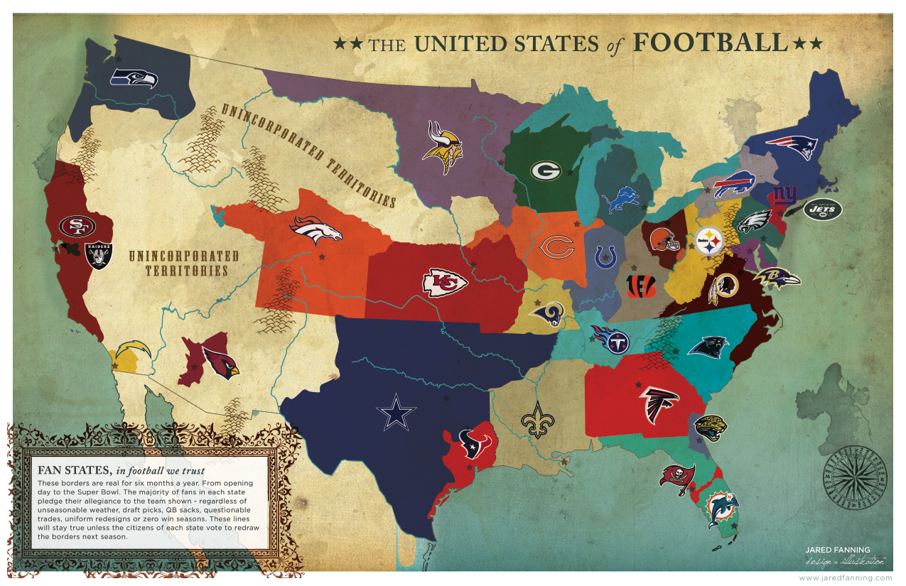 This Map Shows The United States Divided By Which NFL Or College - Us map nfl teams