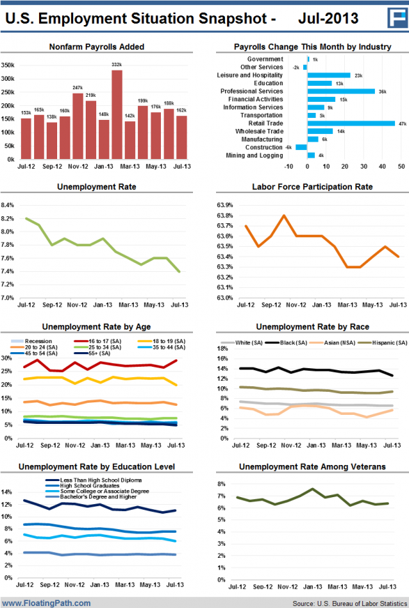 U.S. Employment Situation Snapshot - July 2013