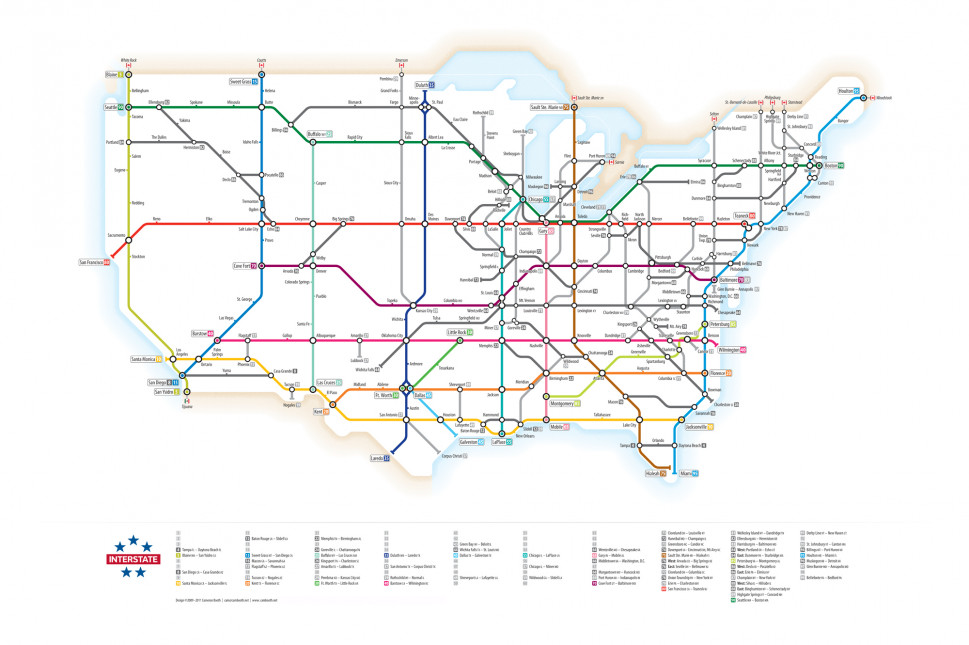 U.S. Interstates as a Subway Map Infographic