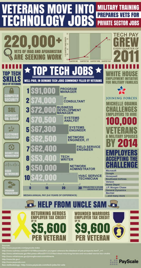 Veterans Move into Technology Jobs Infographic