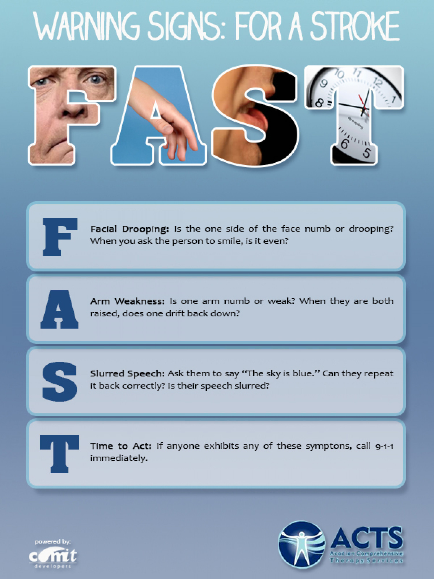 Warning Signs: For a Stroke Infographic