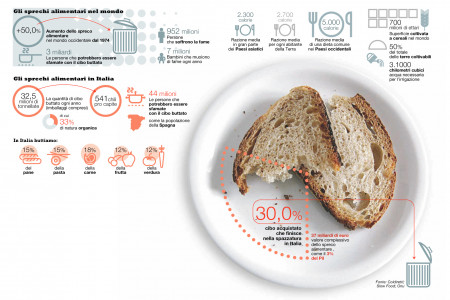 Wasted food in Italy and in the World Infographic