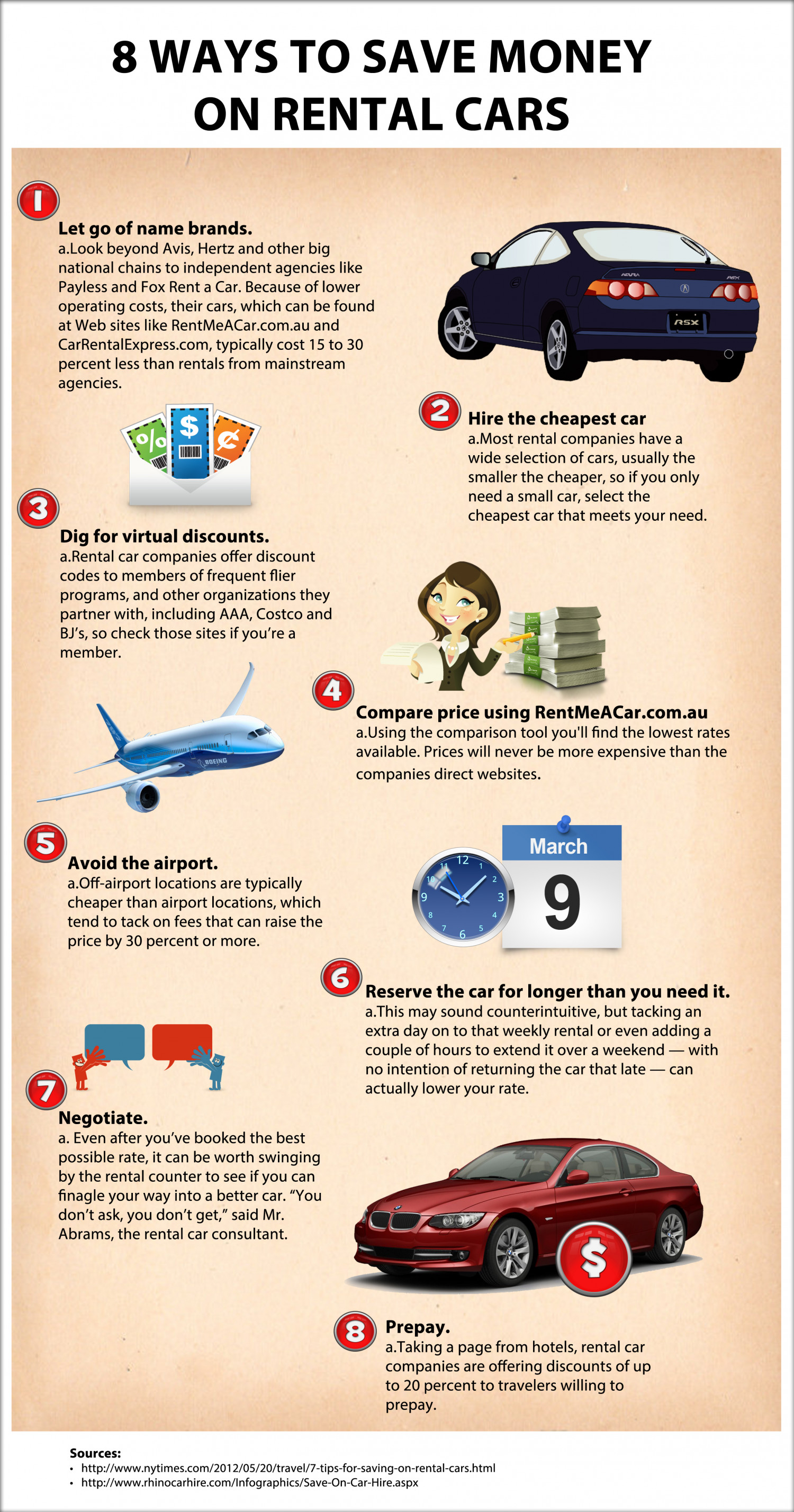 Ways to Save Money on Rental Cars Infographic