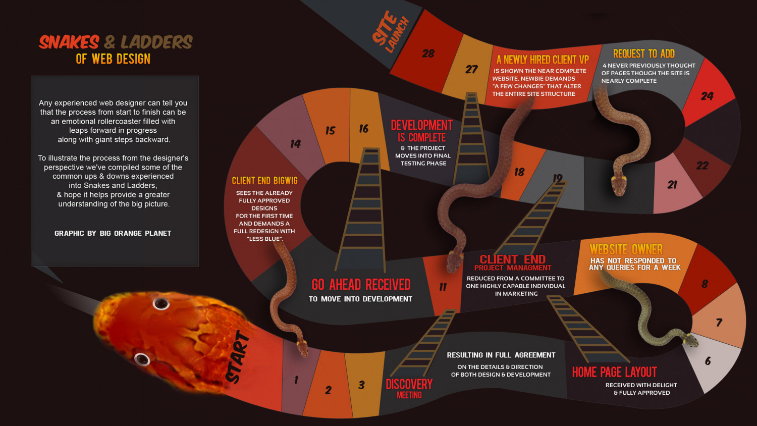 Web Design snakes and ladders Infographic