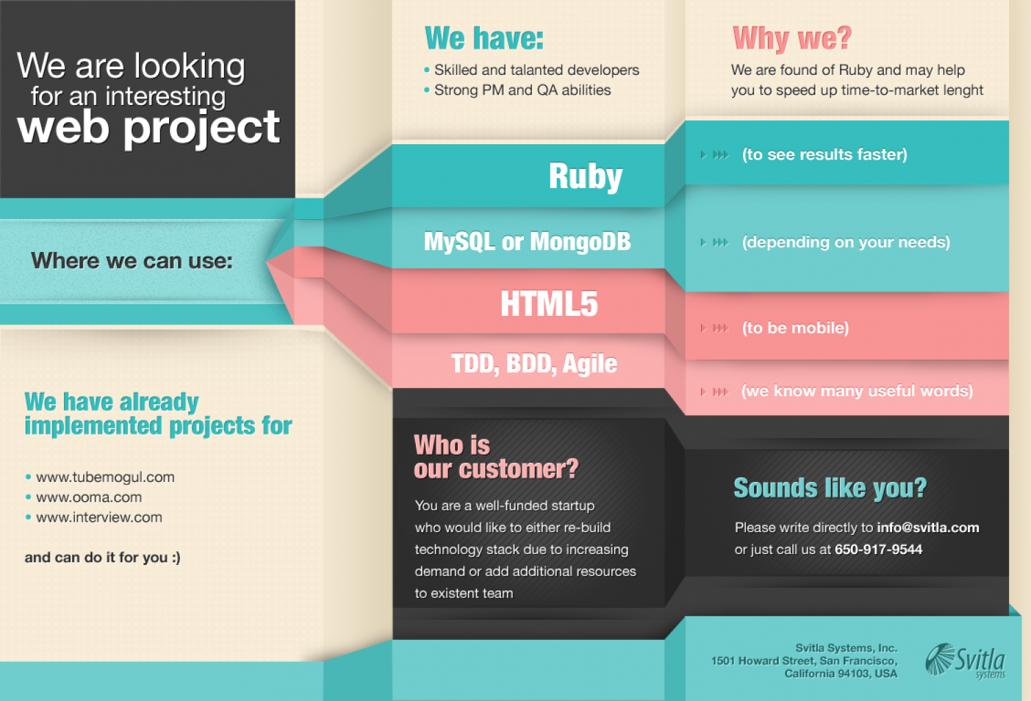 We Are Looking For An Interesting Web Project Infographic