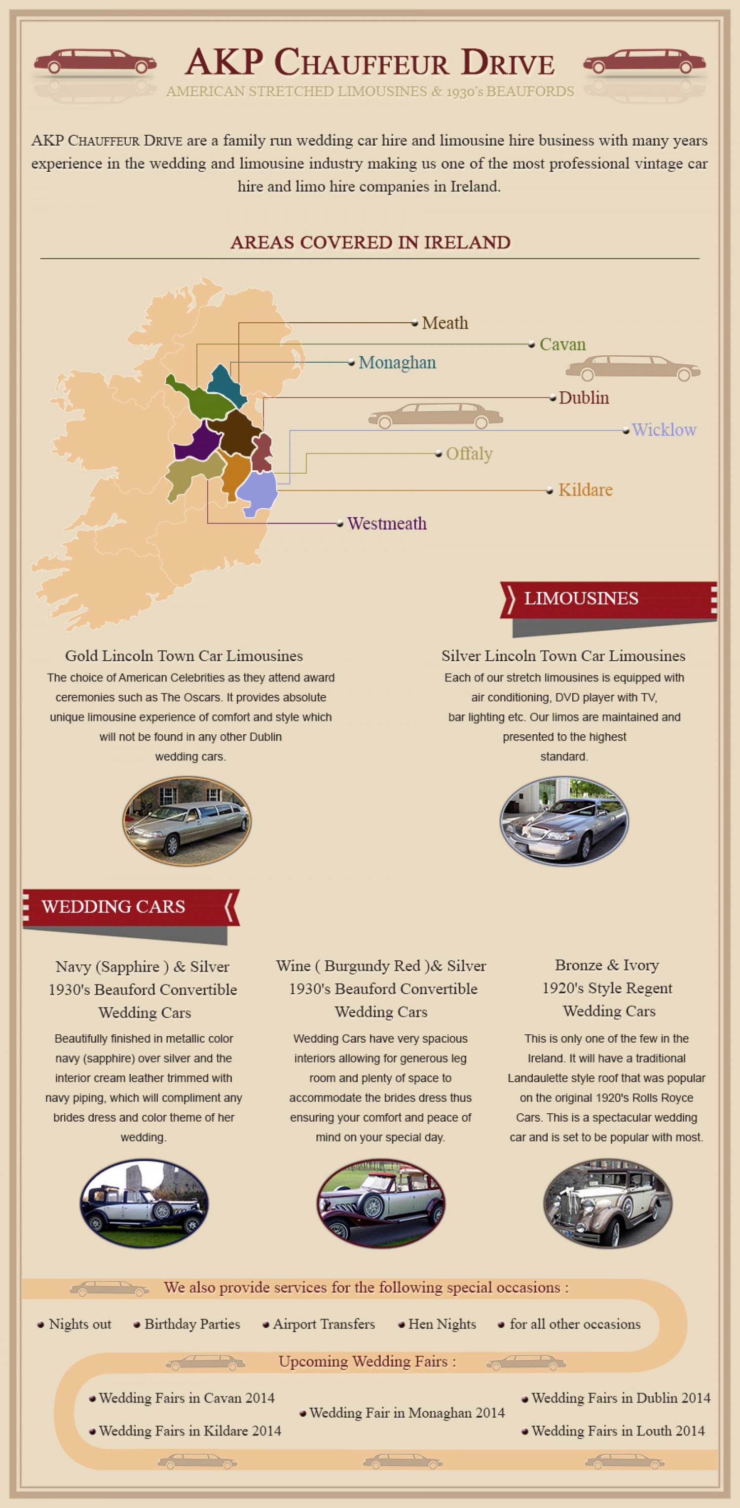 Wedding Car Hire  & Limousine Hire in Ireland Infographic