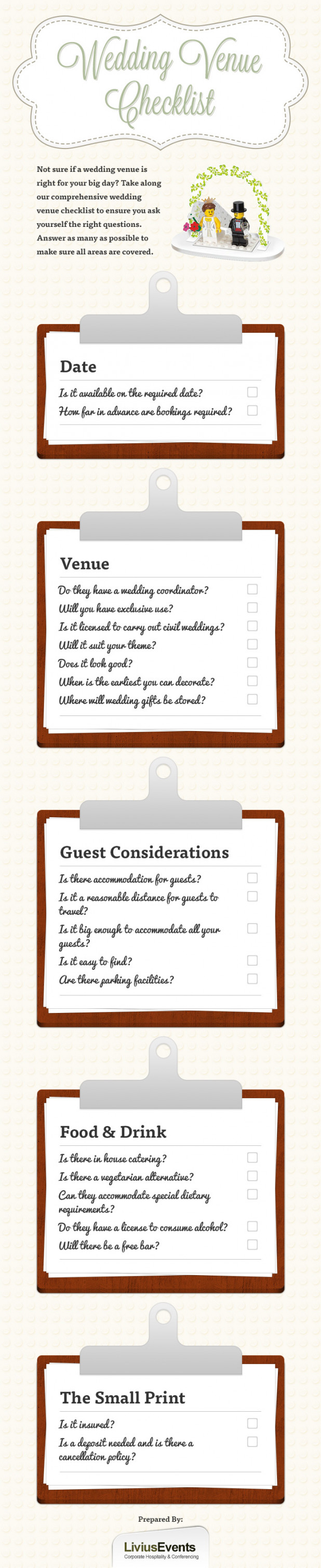 This is a picture of Gorgeous Wedding Venue Checklist Printable