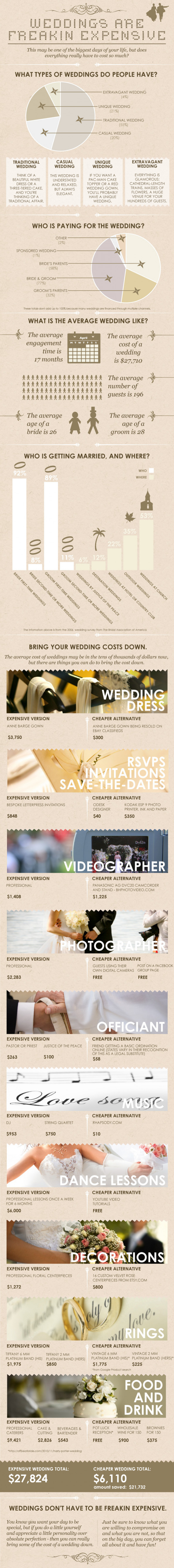 Weddings Are Freakin' Expensive Infographic