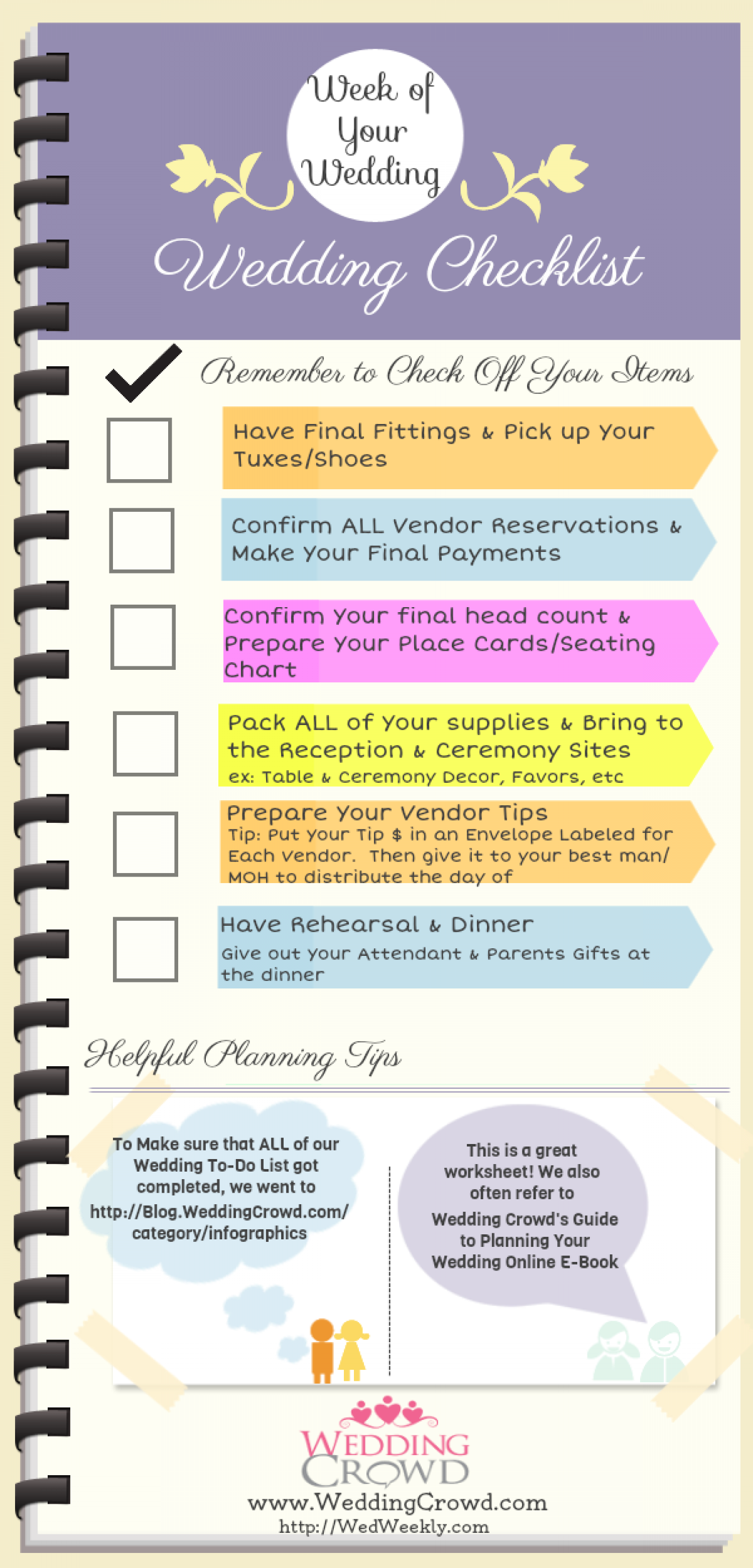 Week of Your Wedding Planning Checklist Infographic