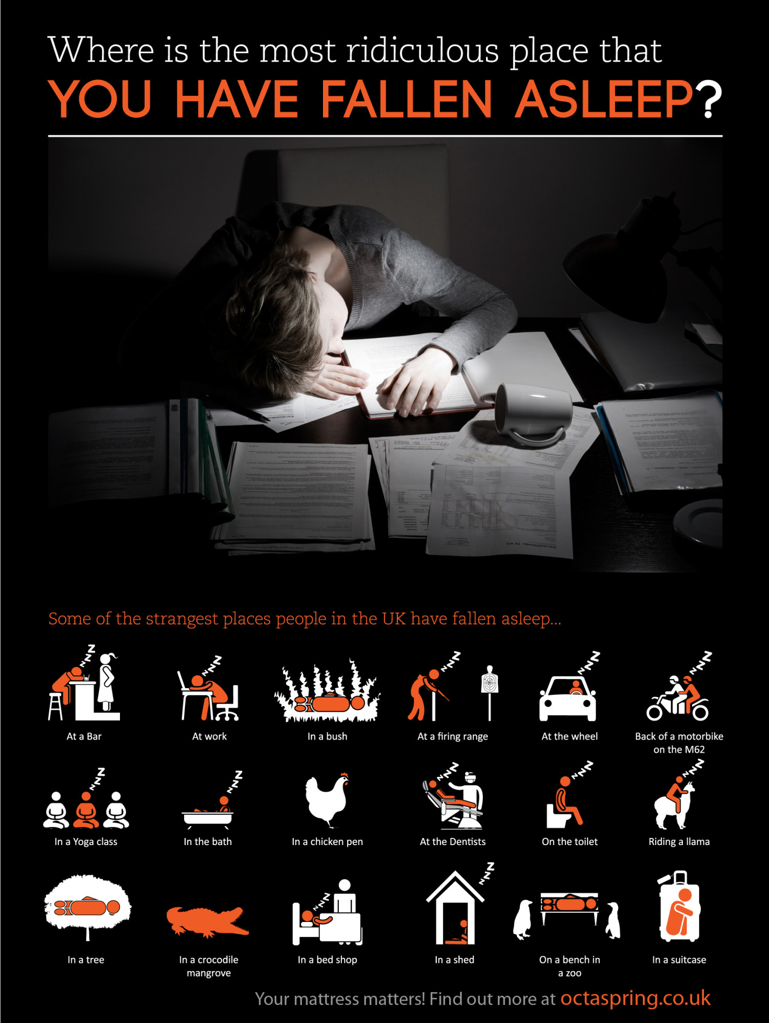 What is the most ridiculous place you have fallen asleep? Infographic