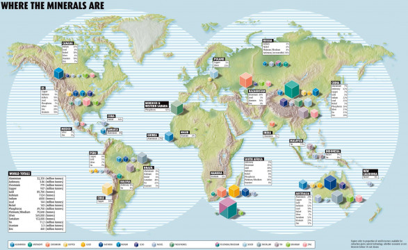 Mineral Map Of The World.Infographic Locating The World S Minerals And Mines Mining Com