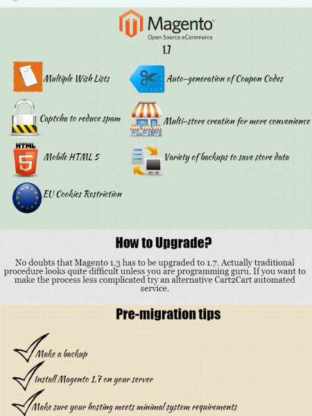 Why and how upgrade Magento 1.3 to 1.7 Infographic