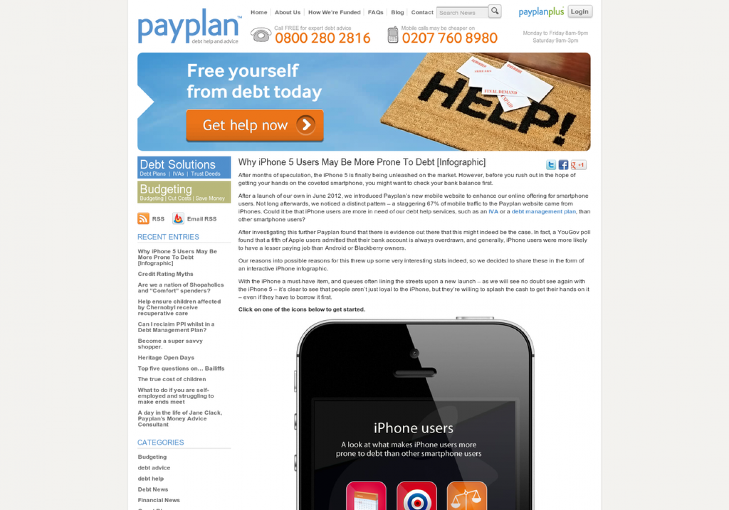 Why iphone 5 users may be more prone to Debt Infographic