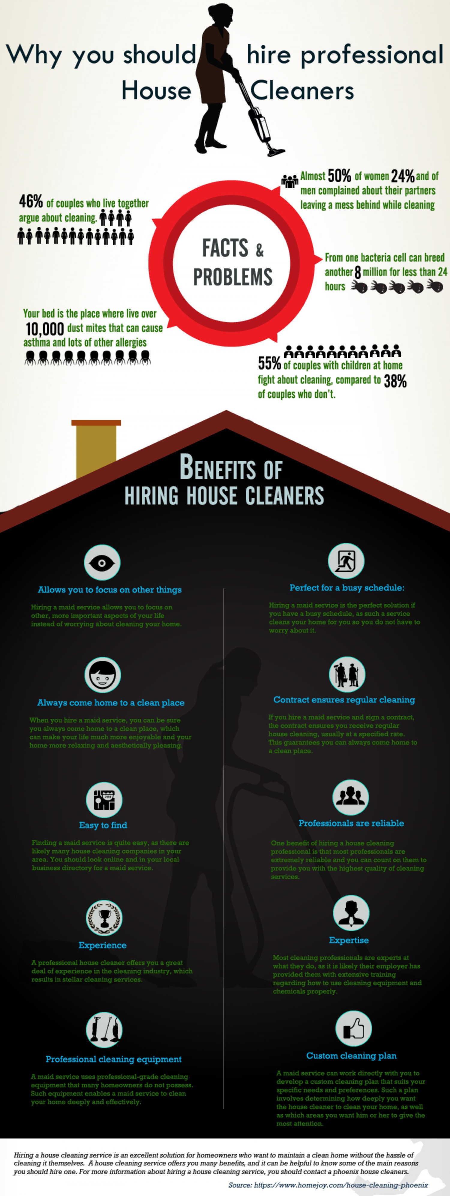 Why you should hire professional House Cleaners Infographic
