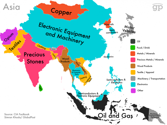 World Commodities Map: ASIA