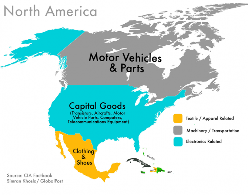 World Commodities Map: North America
