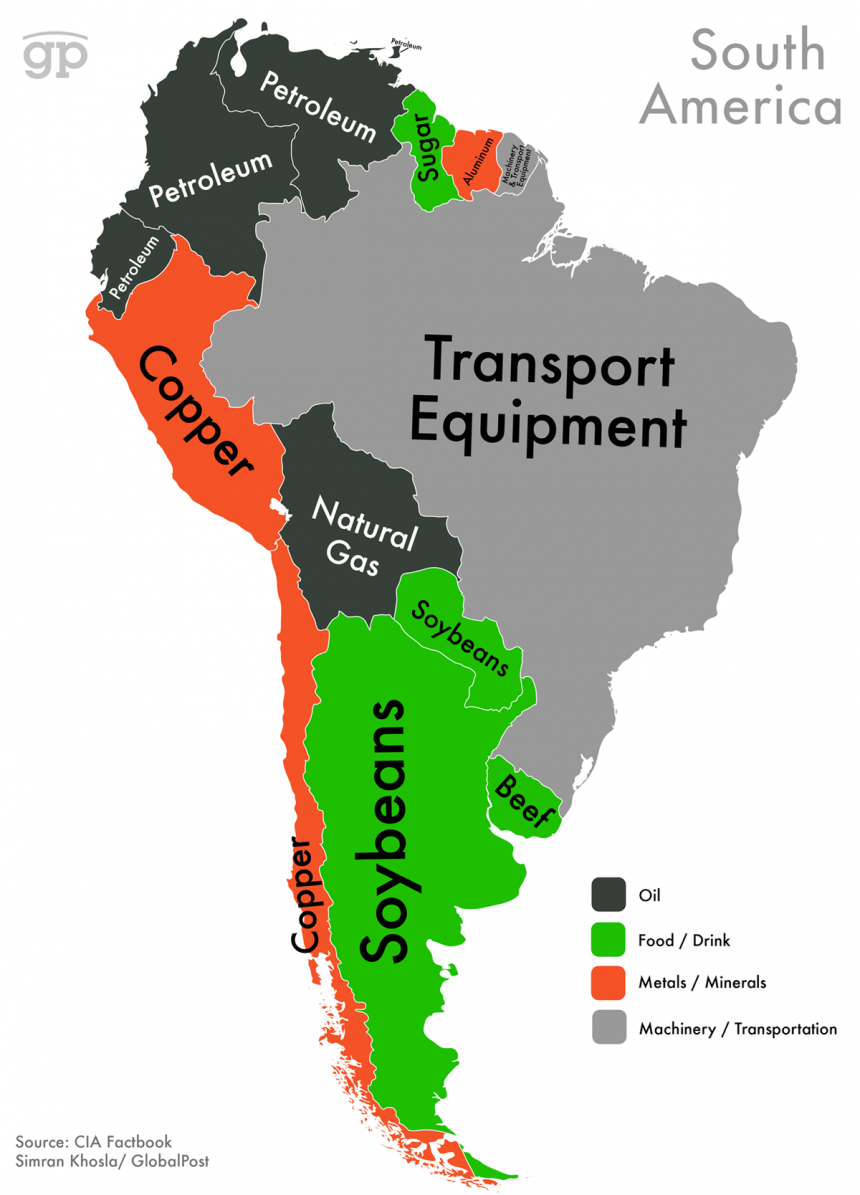 World Commodities Map: South America