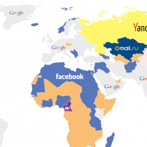 World map of dominating websites Infographic