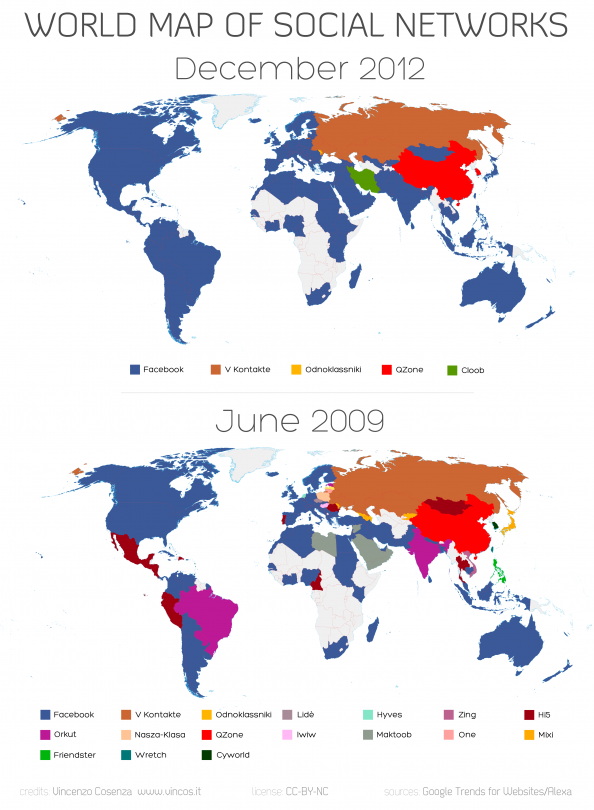 World Map of Social Networks 2009-2012 Infographic
