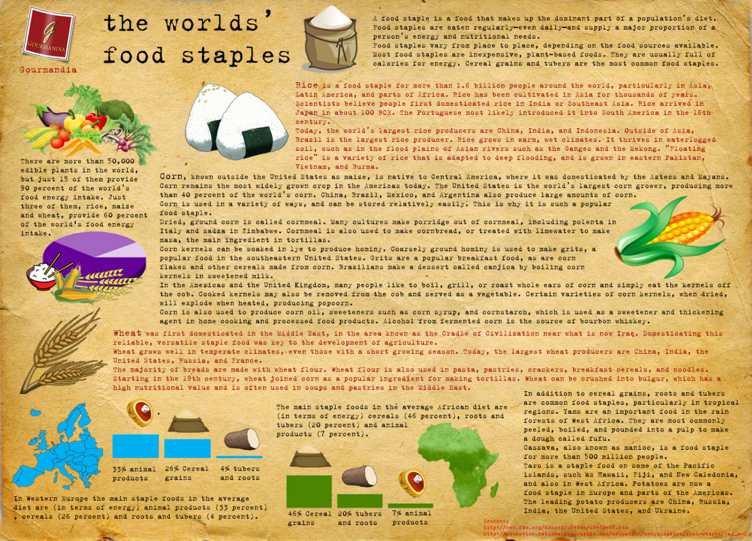World's main food staples Infographic
